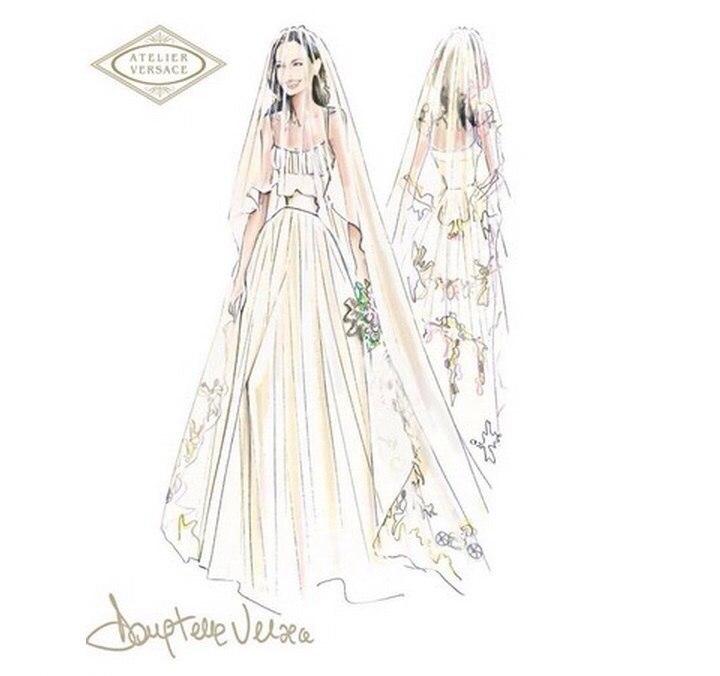свадебное платье, анджелина джоли, versace