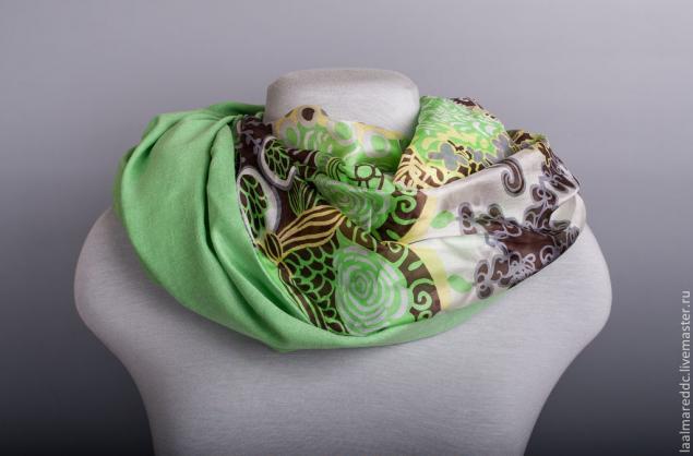 коллекция осень зима, la almare, шарф снуд, шарф хомут, зеленый, серый, осенние краски