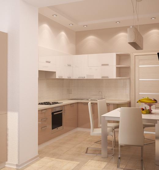 Интерьер кухни в бежевом цвете фото