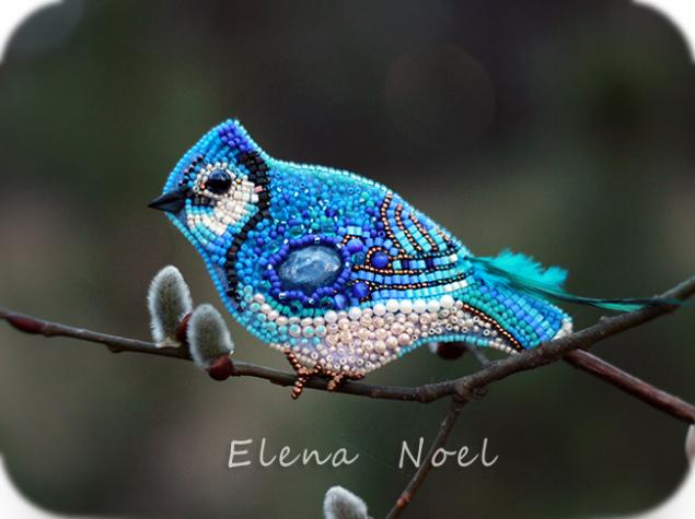 птица, синяя птица, акция, брошь