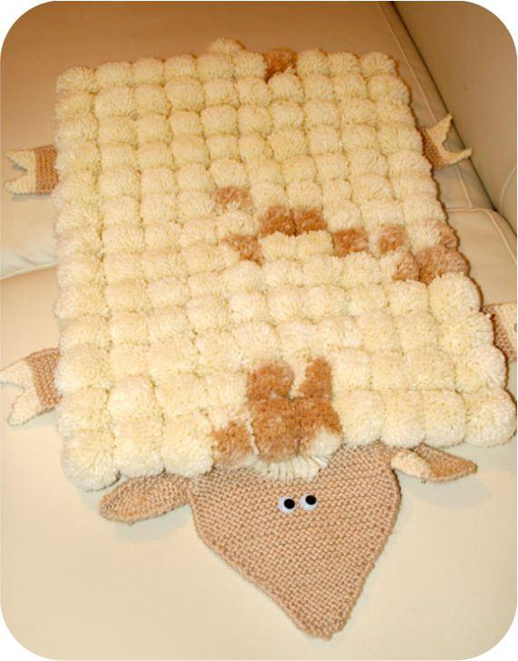 Коврик из помпонов мастер класс овечка