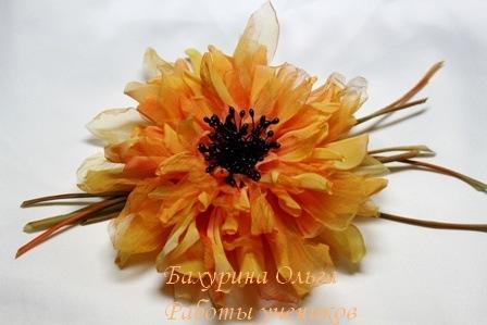 мастер-класс, цветы из шелка, брошь-цветок