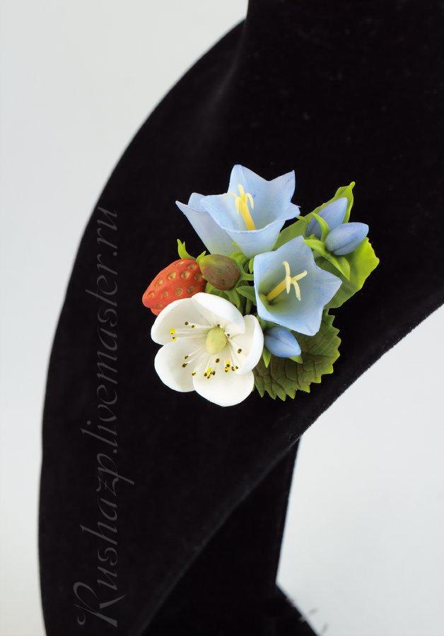 украшения с цветами, зажим с розой, ободок, ягоды с полимерной глины