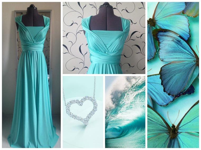 платье трансформер, платье тиффани, платье в пол, универсальное платье, мята