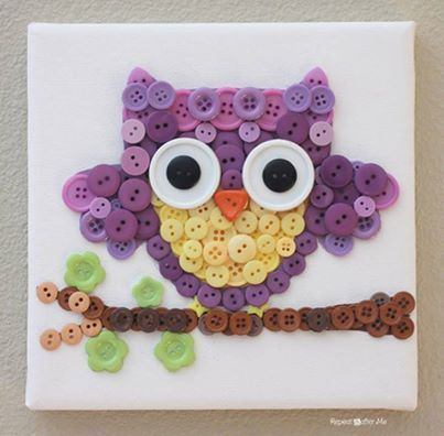 Mosaic button owl craft, How to, how to do, diy instructions, crafts, do it yourself, diy website, art project ideas