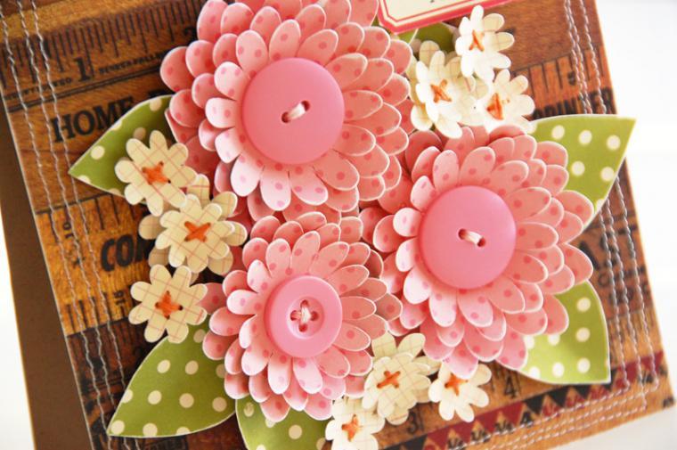Как сделать бумажные цветы для открытки