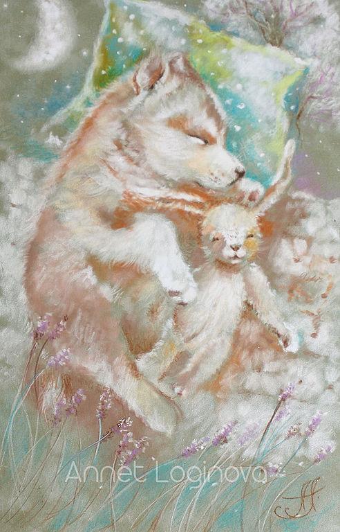 волчок, картины для детской, картины пастелью, теплые картины