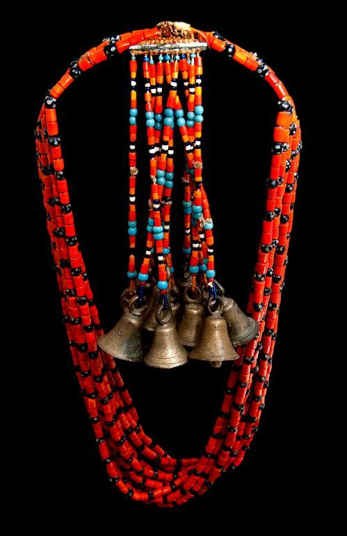 100+ Years Old!    Worn by Naga shaman, India and Tibet close to the Myanmar border, | These necklaces were used in ritual dances to awaken the Gods. Each bell has a different tone and the unique use of design and color distinguishes the tribe.  From London Coin Galleries