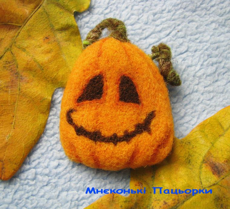 хеллоуин, валяная брошь
