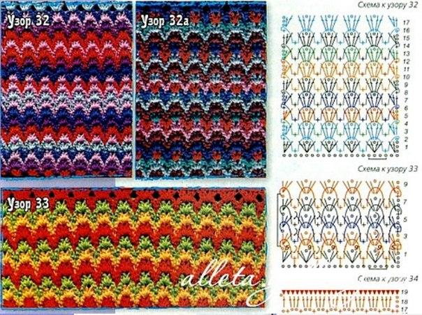 Вязание спицами узоры разноцветные