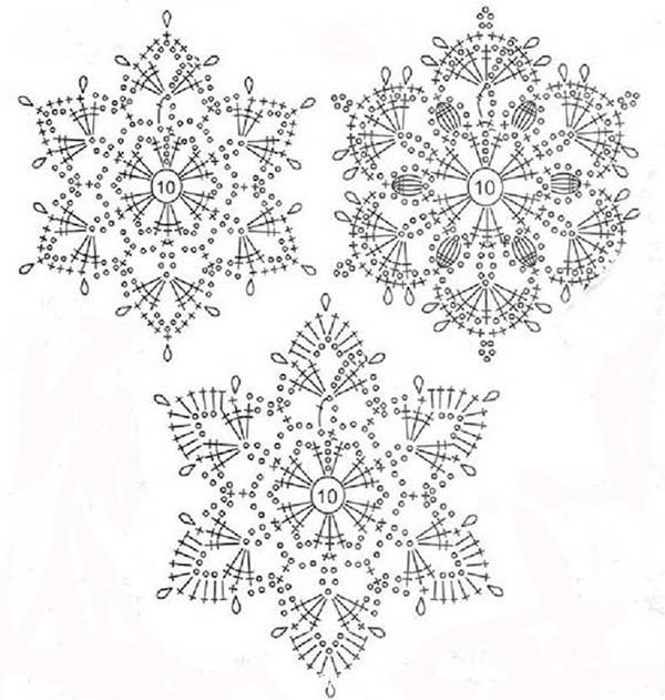 Вязанные снежинки крючком - схемы, фото и хитрости 3
