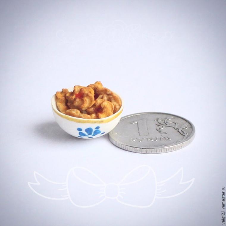 полимерная глина, миниатюра, еда для кукол, печенье, курабье, лепка, микро