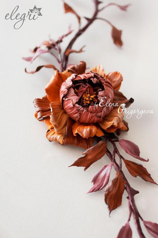 цветы кожаные