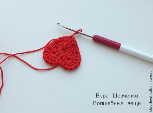 МК Вяжем сердечко - брелок (много фото), фото № 12