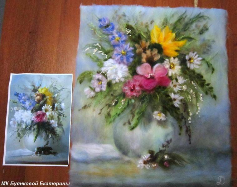 картины из шерсти, цветы