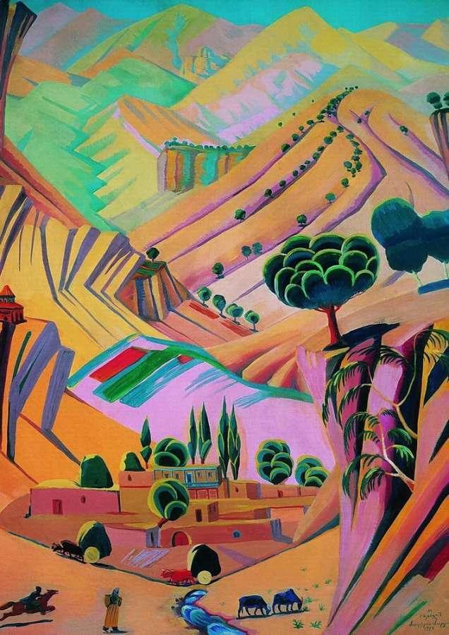 1924 (1923 q) Пестрый пейзаж. Х., м. 140х104 ГРМ - Сарьян Мартирос Сергеевич