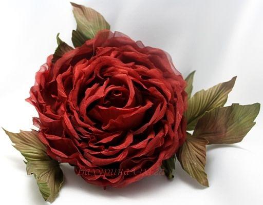 цветы из ткани, цветы из шелка, обучение цветоделию, бульки, роза