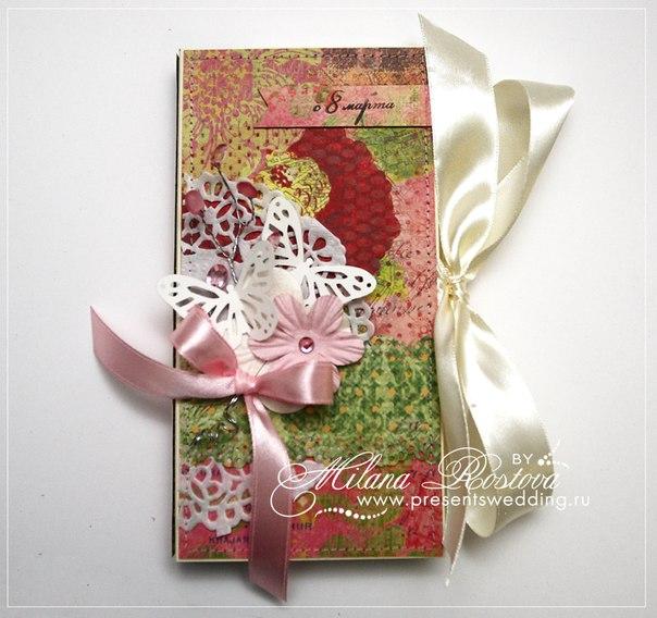 работа с бумагой, скрапбукинг, любовь, открытка шоколадница, 8 марта