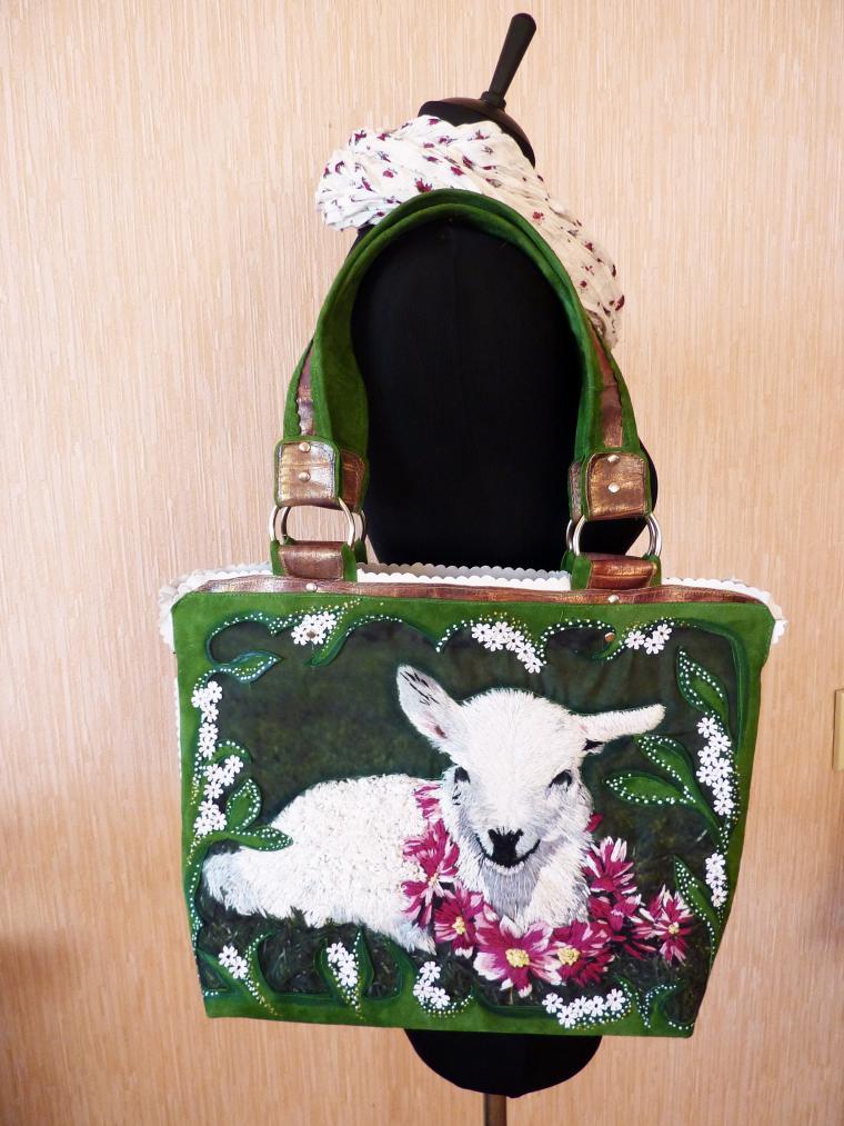 сумка ручной работы, сумка из кожи, сумка с ягненком
