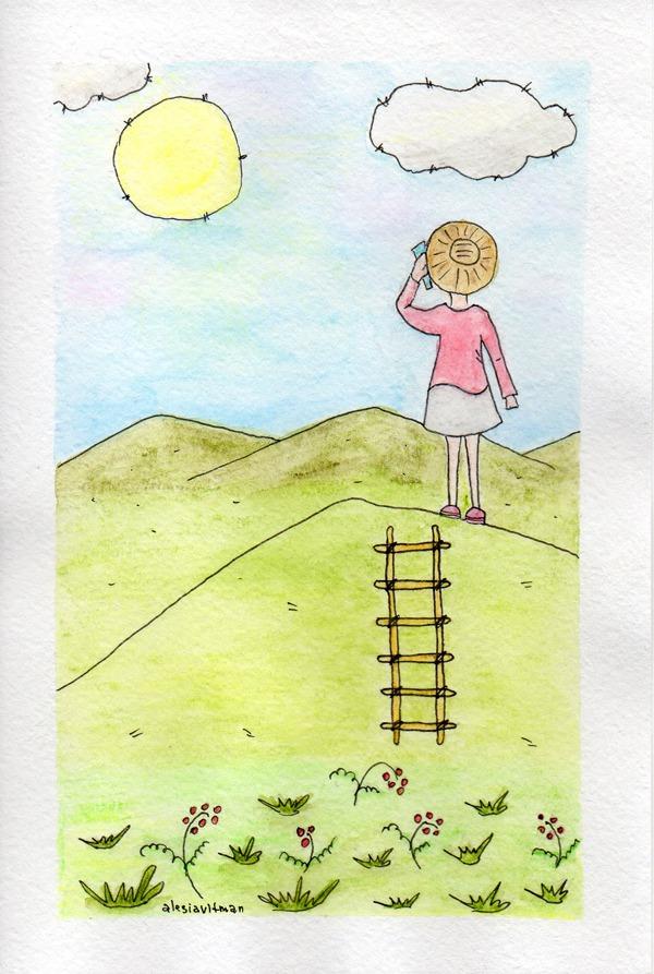 скетч, скетчинг, девочка, телефон, горы, вязание, после отпуска, закончились каникулы, рисунок, простой, акварель, лестница, ягоды, трава