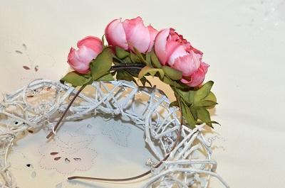 ободок с цветами, пластик, цветы из фоамирана, обучение цветоделию