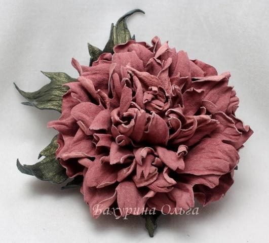 цветоделие, кожаные цветы, обучение цветоделию, мастер класс, пион из кожи