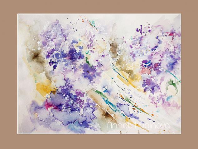 сирень, картины с сиренью, сирень акварелью, цветочные картины, лето