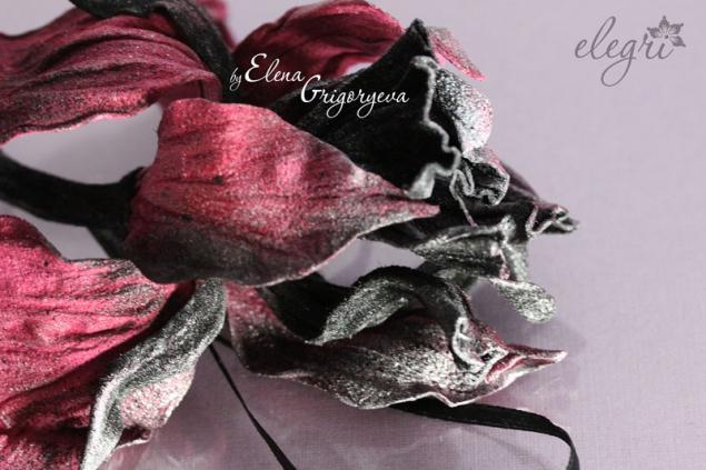 елена григорьева цветы, ирис из кожи, цветы ручной работы