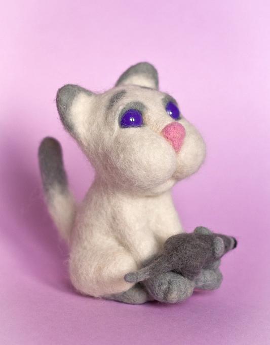 валяние из шерсти, валяная игрушка, мышь, кошка, рукоделие