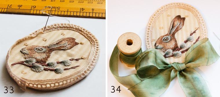 Вышитая брошка с пасхальным зайкой и веточкой вербы, фото № 17
