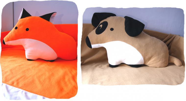 подушка, плед, лиса