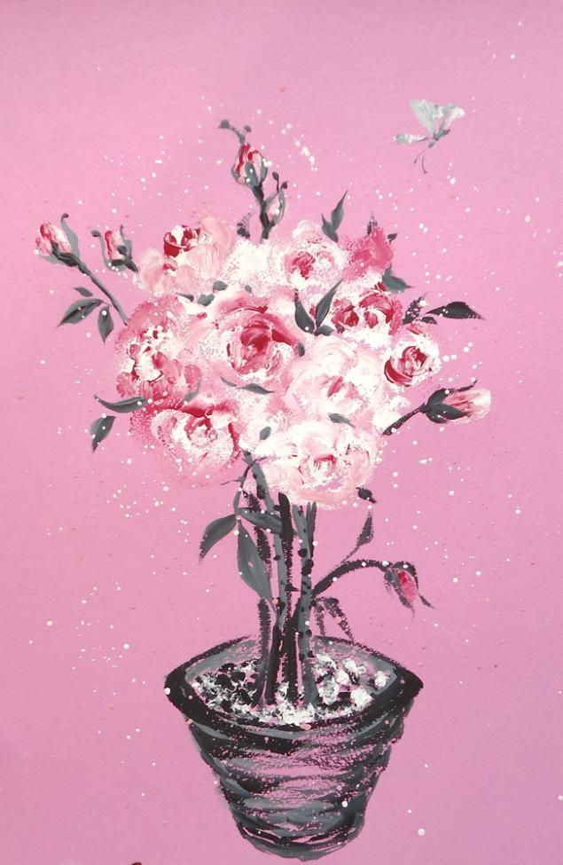 натали котова, обучение живописи, обучение рисованию, арттренинги, тренинг, мастеркласс, акварель, картина, розы, розовый, гуашь, живопись