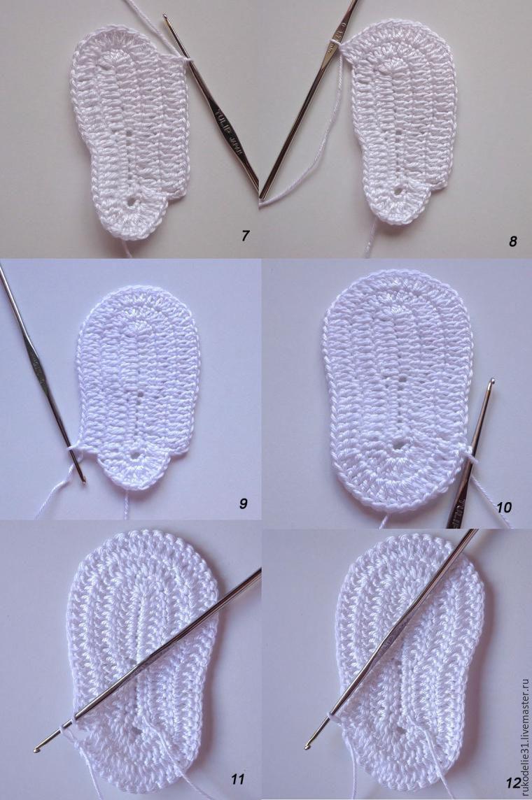 мастер класс по вязанию, пинетки вязаные