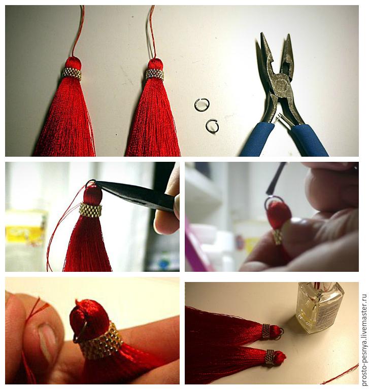 Сережки из ниток как делать