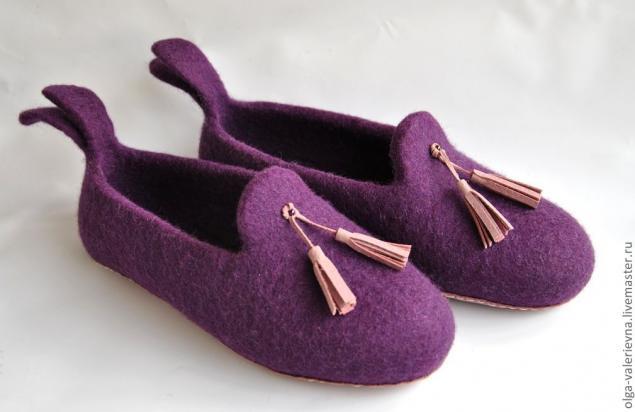 валяние тапочек, валяная обувь