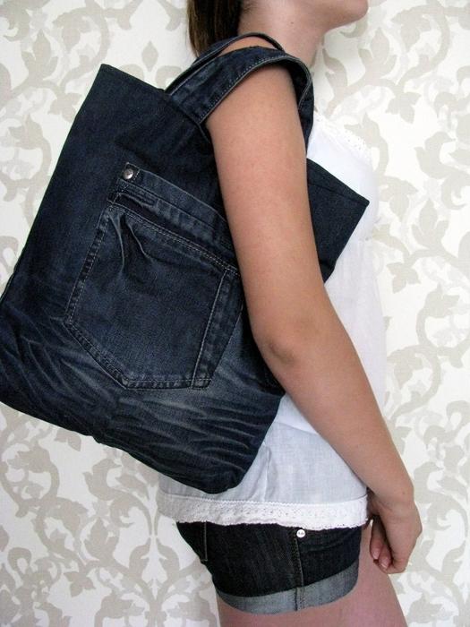4ea58a2c5f11 Хозяйственная сумка из джинсов – мастер-класс для начинающих и ...