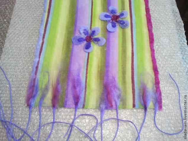 шарф валяный, войлок с нуля