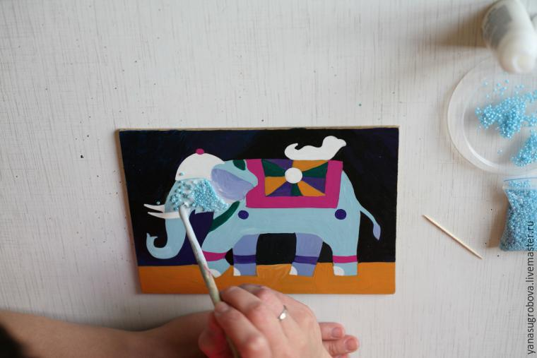 How to Make a Beaded Mosaic with an Indian Elephant with Kids, фото № 5