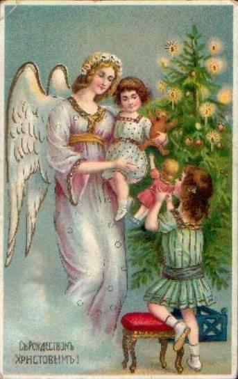 Старинные рождественские открытки: 35 трогательных изображений, фото № 14