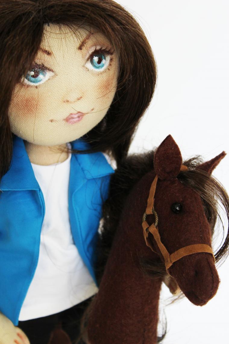 жокей, лошадь, кукла текстильная