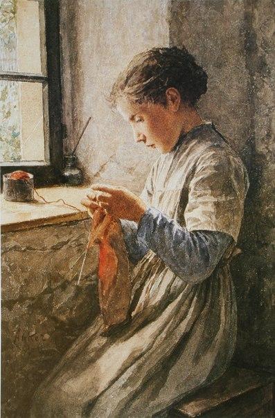 Женщина за вязанием