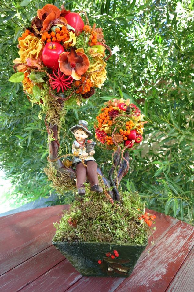 флористика, топиарии, интерьерные композиции, деревья счастья, дерево, флористические композиции, осенний топиарий