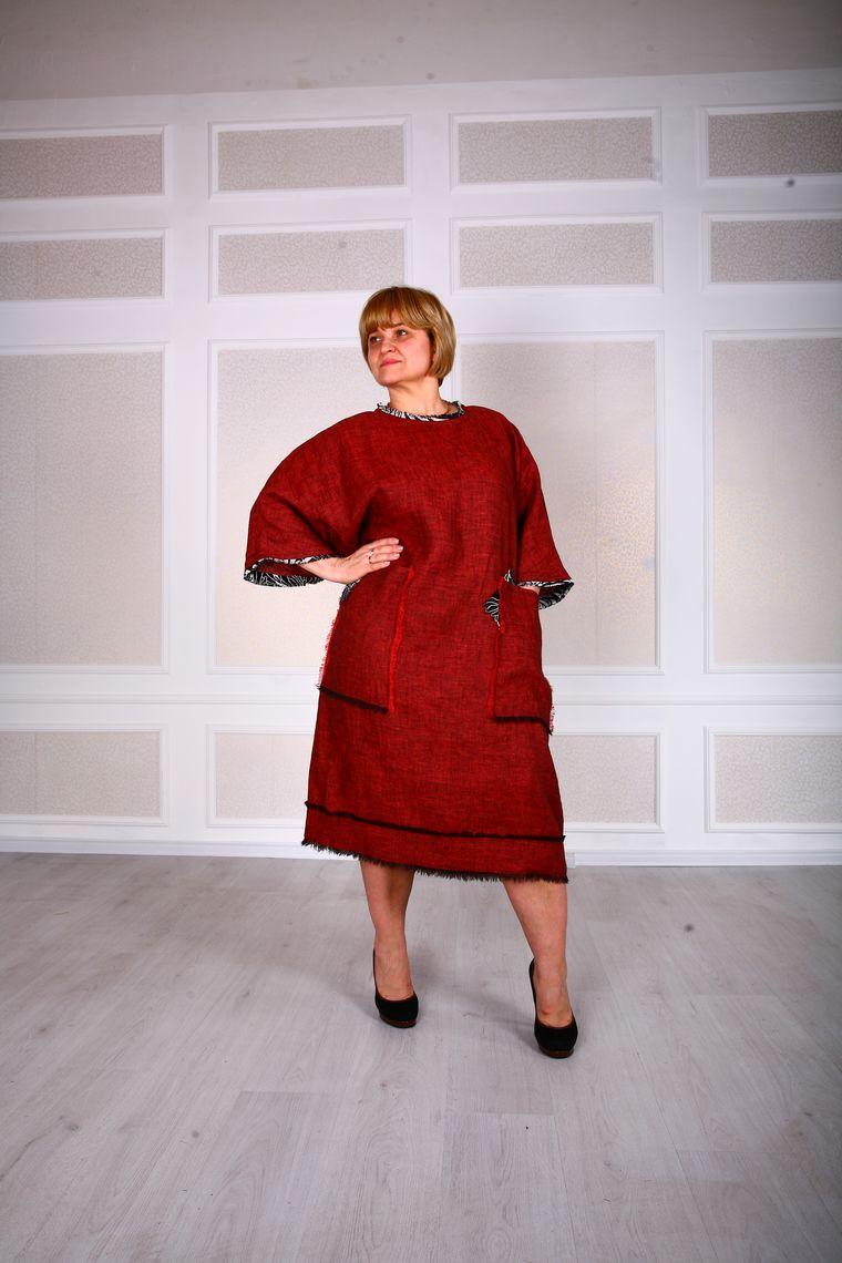Платье большого из льна
