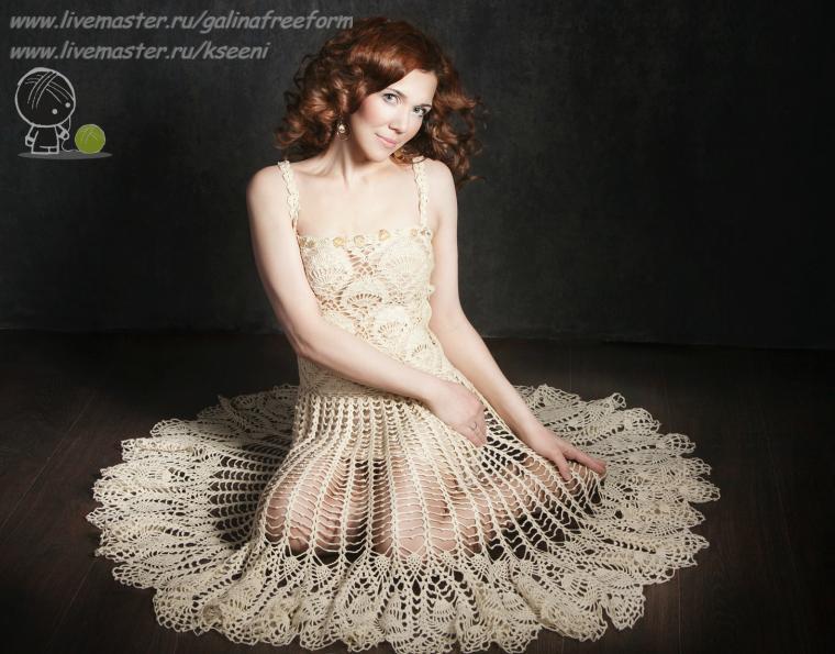 вязаное платье, платье в подарок