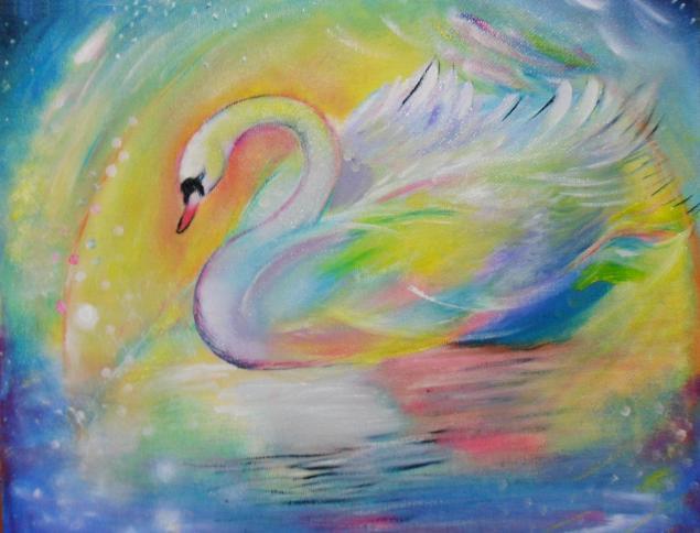 картина, сказочная картина, лебедь, радужная, счастье