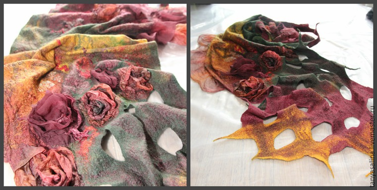 Валяем палантин с розами из шелка - Ярмарка Мастеров - ручная работа, handmade