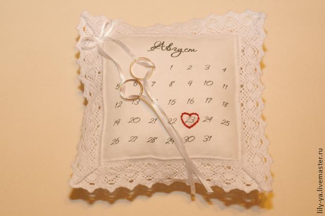 Подушечка для колец с датой свадьбы, фото № 11