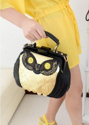 NEW Women Black Owl handbag Synthetic leather Purse Messenger Hobo shoulder Bag