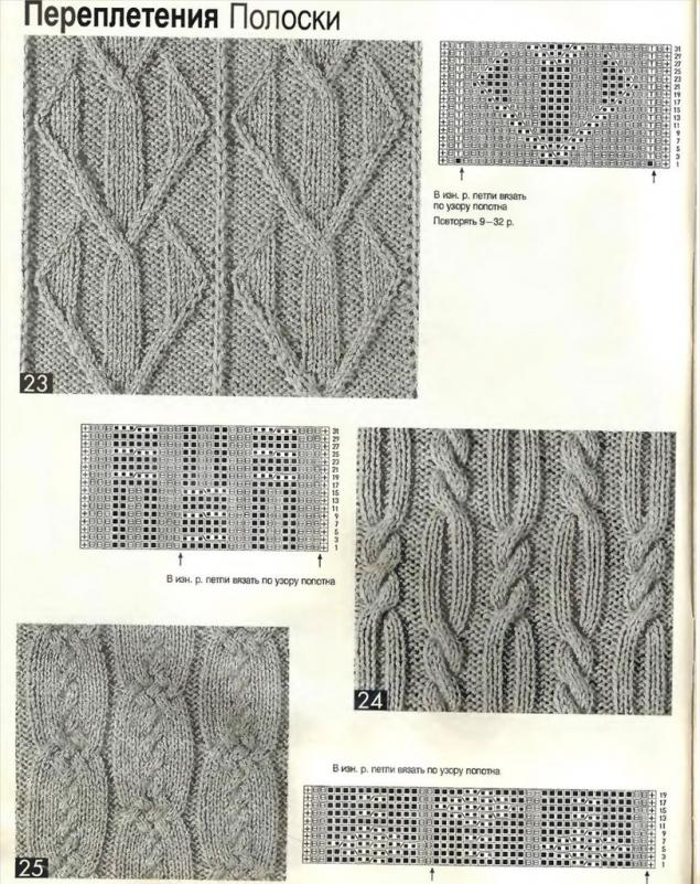 Коллекция схем вязаных узоров из жгутов,кос,шишечек,ромбов ...
