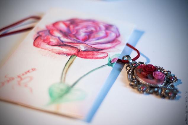 упаковка своими руками, роза акварелью, подарочный конверт